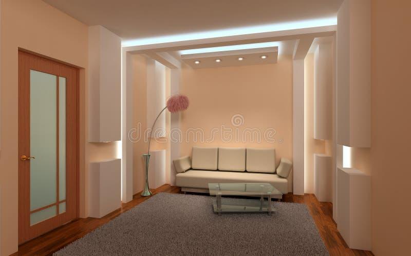 inre vardagsrum 3d fotografering för bildbyråer