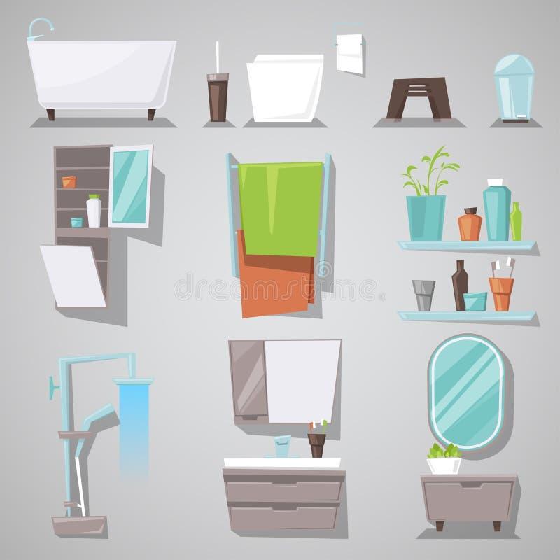 Inre vektorbadkar och dusch för badrum med spegelmöblemang i bathhouseillustrationuppsättning av möblerat rum för royaltyfri illustrationer