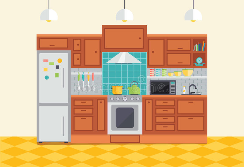 Inre vektorillustration för kök Plant designmöblemang och royaltyfri illustrationer