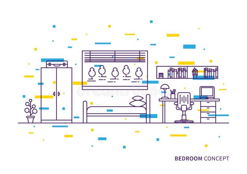 Inre vektorillustration för sovrum stock illustrationer