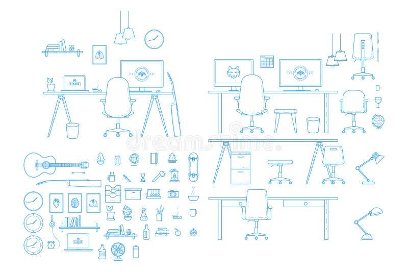 Inre Workspacegenerator för vektor stock illustrationer