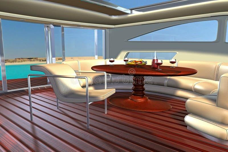 inre yacht royaltyfri illustrationer