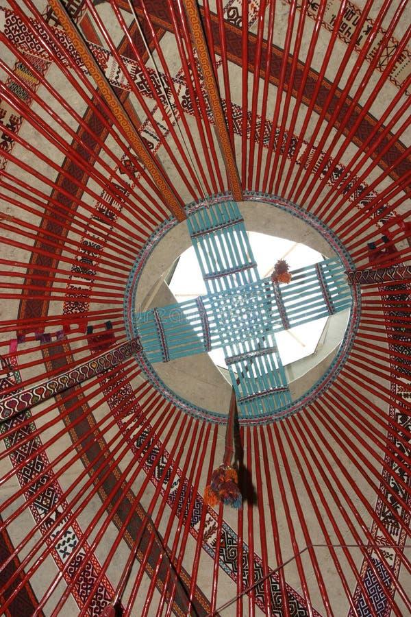 inre yurt för kazakhnomad s royaltyfri bild
