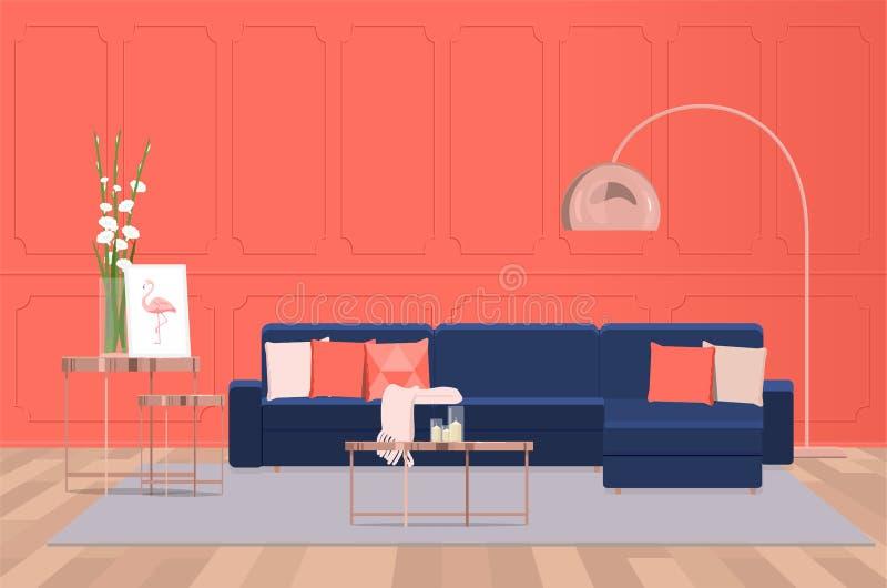 Inredesign av en lyxig vardagsrum med en blå soffa mot bakgrunden av en korallvägg Plan belysning för vektor royaltyfri illustrationer