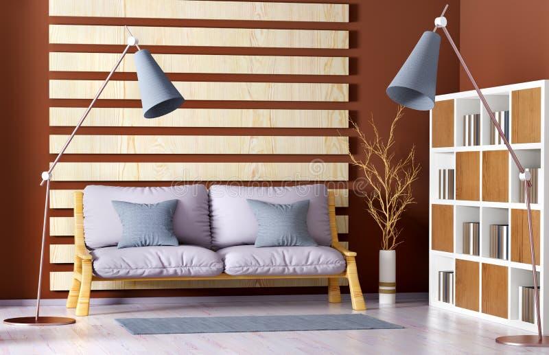 Inredesign av modern vardagsrum med soffan, bokhylla, tolkning 3d royaltyfri illustrationer