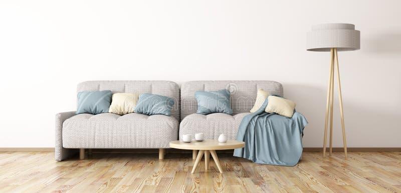 Inredesign av modern vardagsrum med tolkningen för soffa 3d arkivbilder