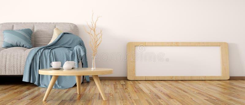 Inredesign av modern vardagsrum med tolkningen för soffa 3d royaltyfri illustrationer