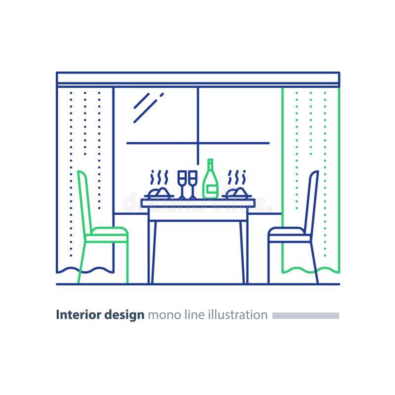 Inredesign, hem- matsal, tabellinställning och två stolar royaltyfri illustrationer