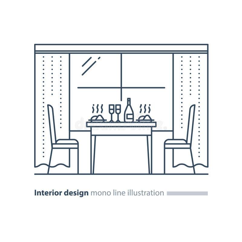 Inredesign, hem- matsal, tabellinst?llning och tv? stolar royaltyfri illustrationer