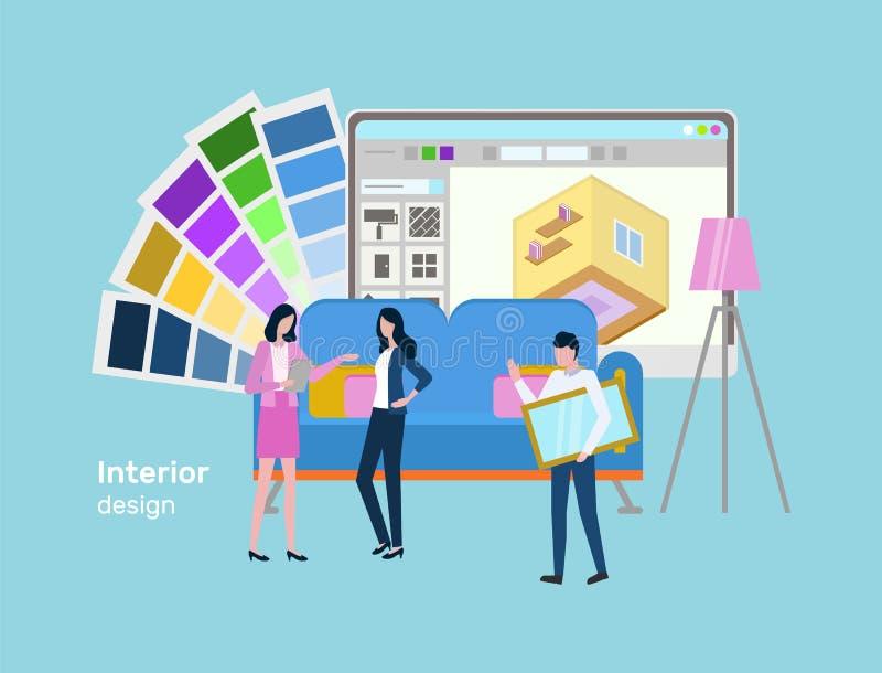 Inredesign och planläggning av den hem- blickvektorn royaltyfri illustrationer