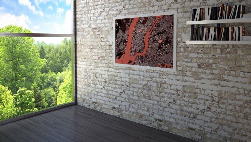 Inredesign som målar med en bokhylla som hänger på en tegelstenvägg, ett fönster som förbiser en parkera Prestigefull takvåning vektor illustrationer