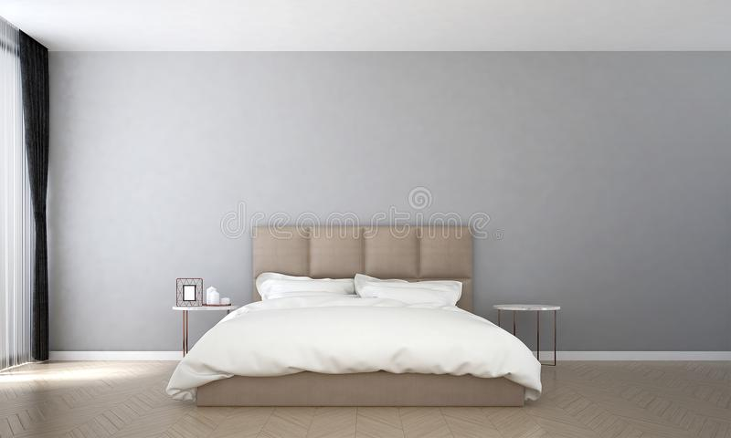 Inredesignen av den minsta sovrum- och betongväggmodellen och havssikten vektor illustrationer