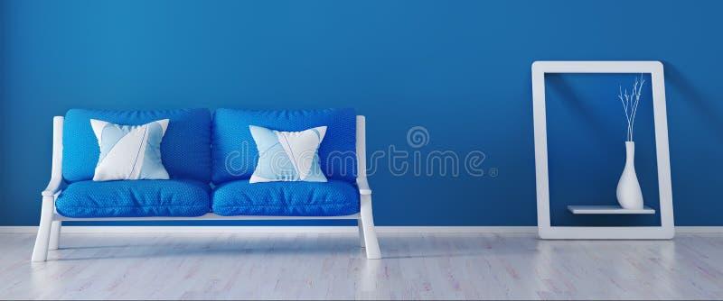 Inredesignen av modern vardagsrum med den blåa soffan, 3d framför vektor illustrationer