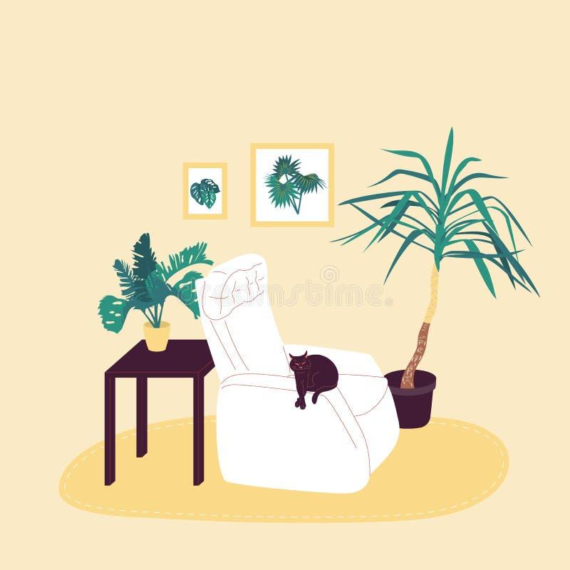 Inreior confortável da sala com o gato preto na poltrona Isolado no fundo branco Vetor liso do estoque dos desenhos animados do e ilustração stock