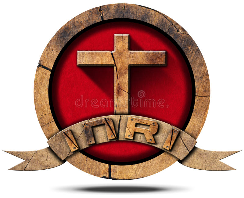 INRI - Ícone de madeira com cruz ilustração stock