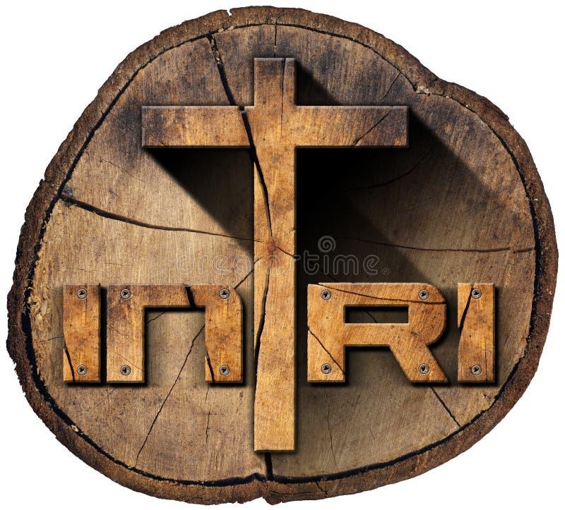 INRI - Drewniany krzyż na Drzewnym bagażniku royalty ilustracja