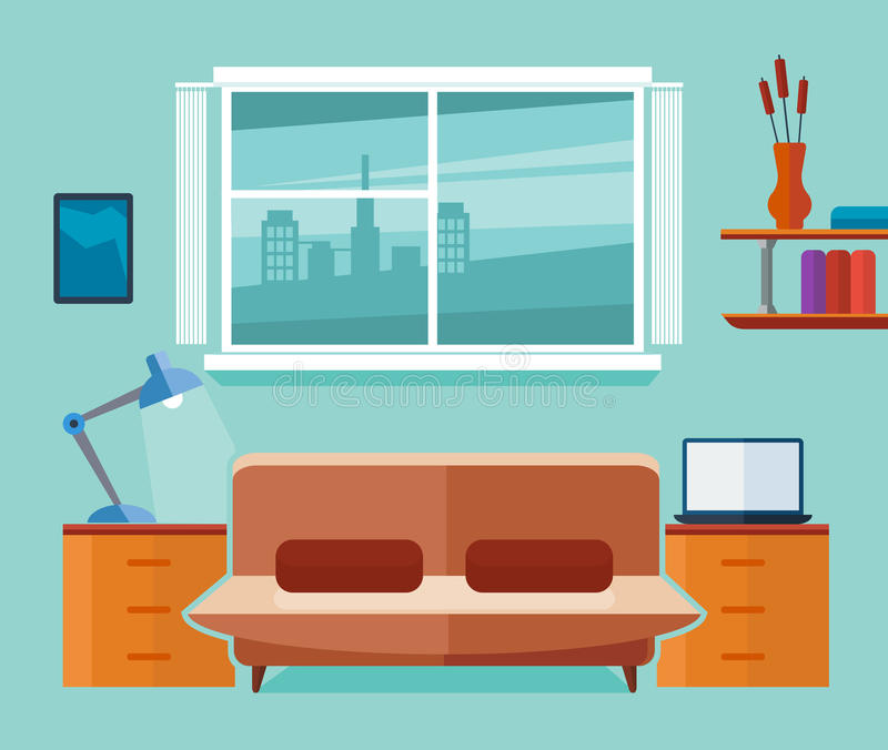 Inrikesdepartementetinre med soffan och bärbara datorn Freelancerarbetsplats Plan vektorillustration royaltyfri illustrationer