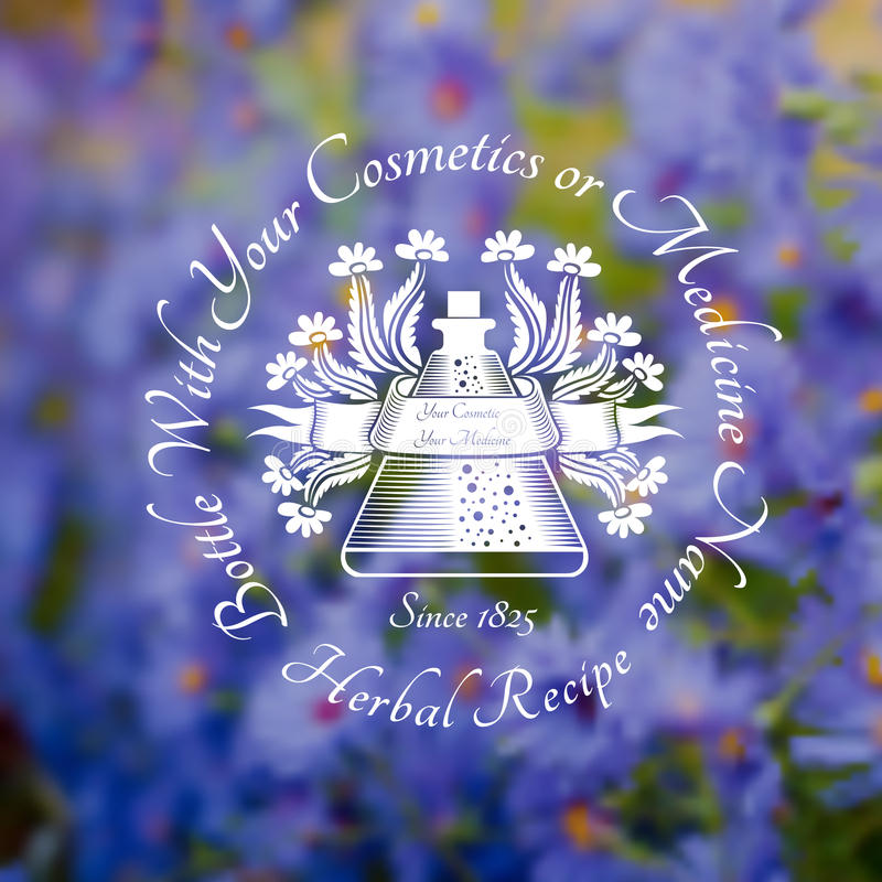 Inrista etikettskönhetsmedel eller den runda flaskan för medecine med blomman och bandet på den violetta blomman för bakgrund stock illustrationer