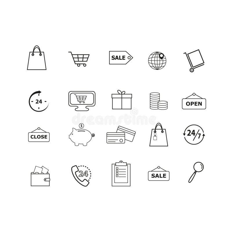 inrista kläckt vektor för stil för shopping för symbolsillustration set royaltyfri illustrationer