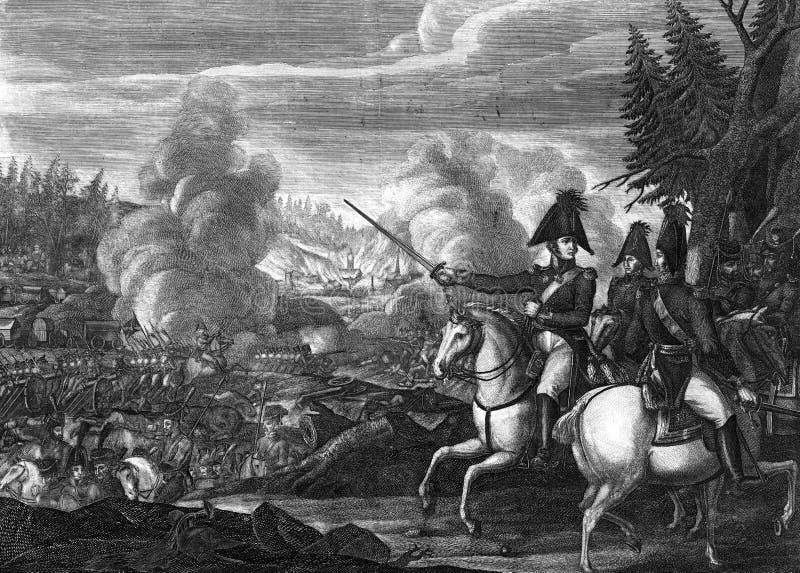 Inrista striden av kriget mellan Frankrike och Ryssland stock illustrationer