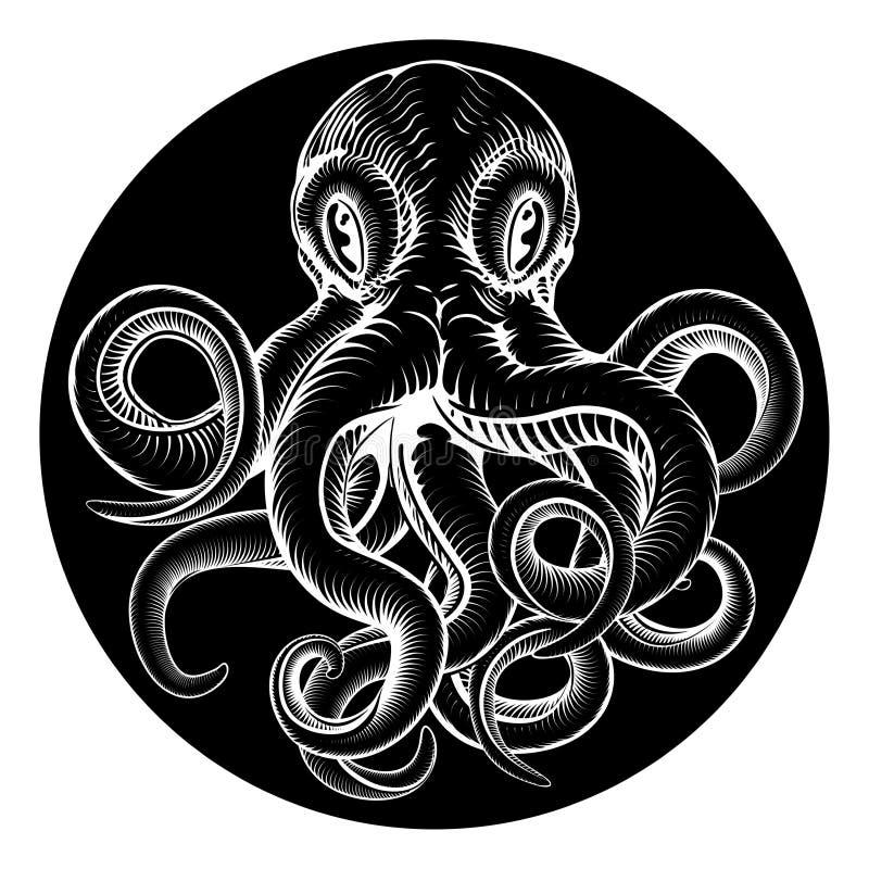 Inristad etsad stil för bläckfisktappning träsnitt vektor illustrationer