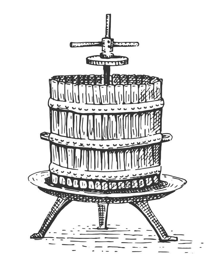 Inristad hand dragen illustration för vinpress tappning stock illustrationer