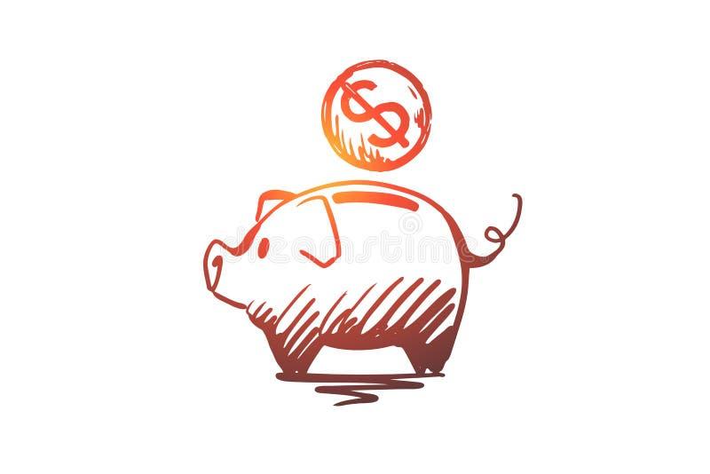 Insättning pengar, bankrörelse, investering, besparingbegrepp Hand dragen isolerad vektor vektor illustrationer