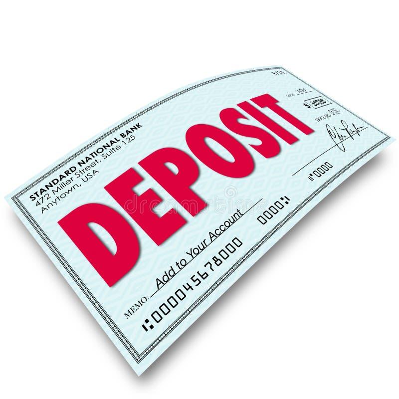 Insättningordkontroll som sätter pengar in i ditt bankkonto royaltyfri illustrationer