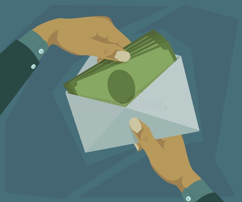 Insérez l'argent dans l'enveloppe illustration de vecteur