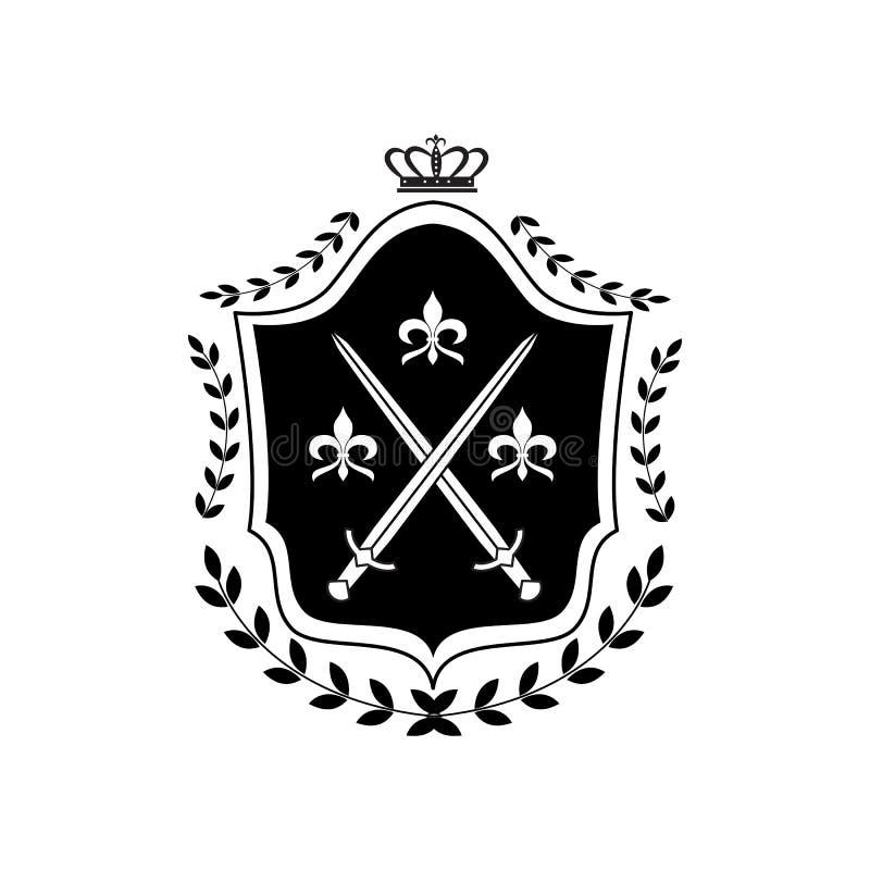 Insígnia do escudo real com símbolo da coroa decorado com espadas cruzadas ilustração do vetor