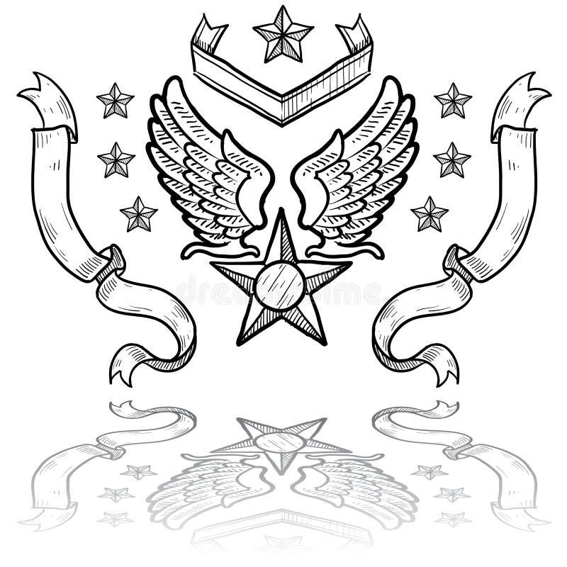 Insígnias da força aérea de E.U. com fitas ilustração royalty free