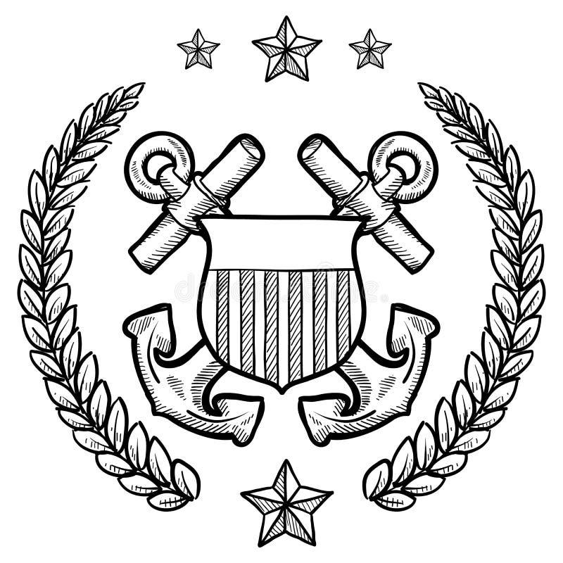 Insígnias da marinha dos E.U. com grinalda ilustração do vetor