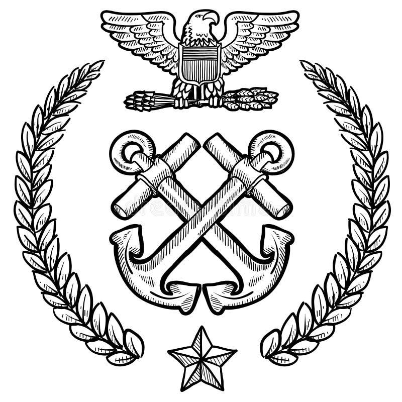 Insígnias da marinha dos E.U. com grinalda ilustração stock