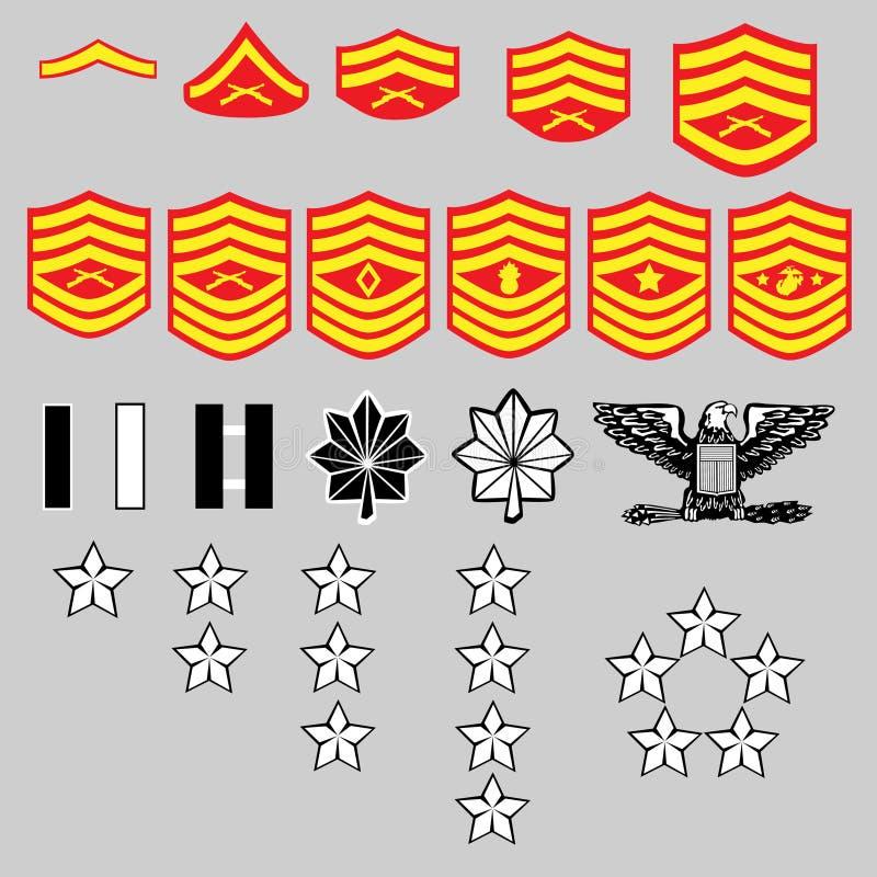 Insígnias florescentes marinhas dos E.U. Corp ilustração royalty free