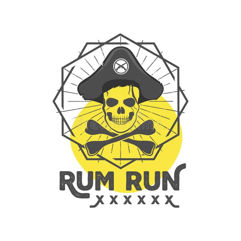 Insígnias ou cartaz do crânio do pirata Projeto retro da etiqueta do rum com explosões do sol, o protetor geométrico e o texto do ilustração royalty free