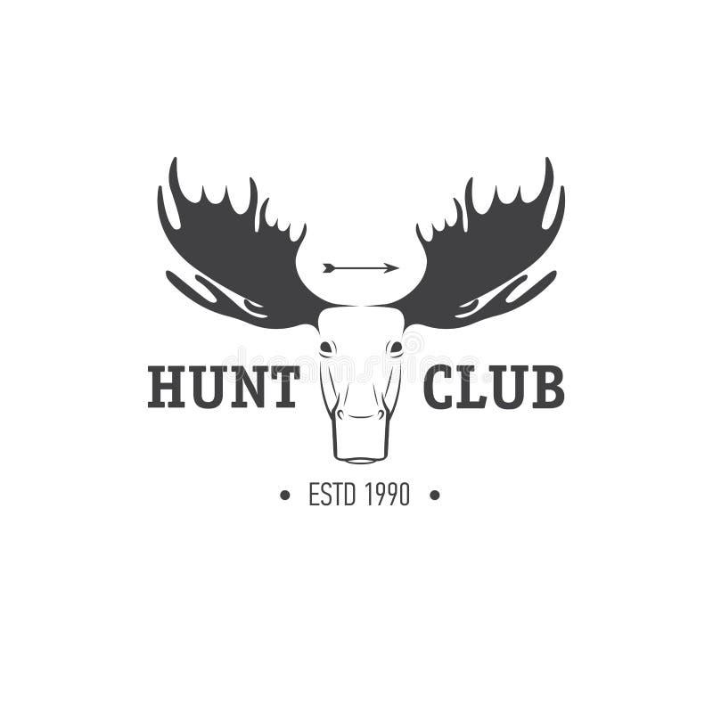 Insígnias retros do vintage ou elemento do projeto do vetor do Logotype, molde do sinal do negócio Caça dos cervos Caça para alce ilustração do vetor