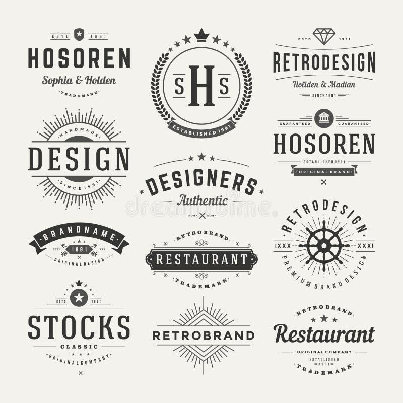 Insígnias retros do vintage ou vetor ajustado Logotypes ilustração royalty free