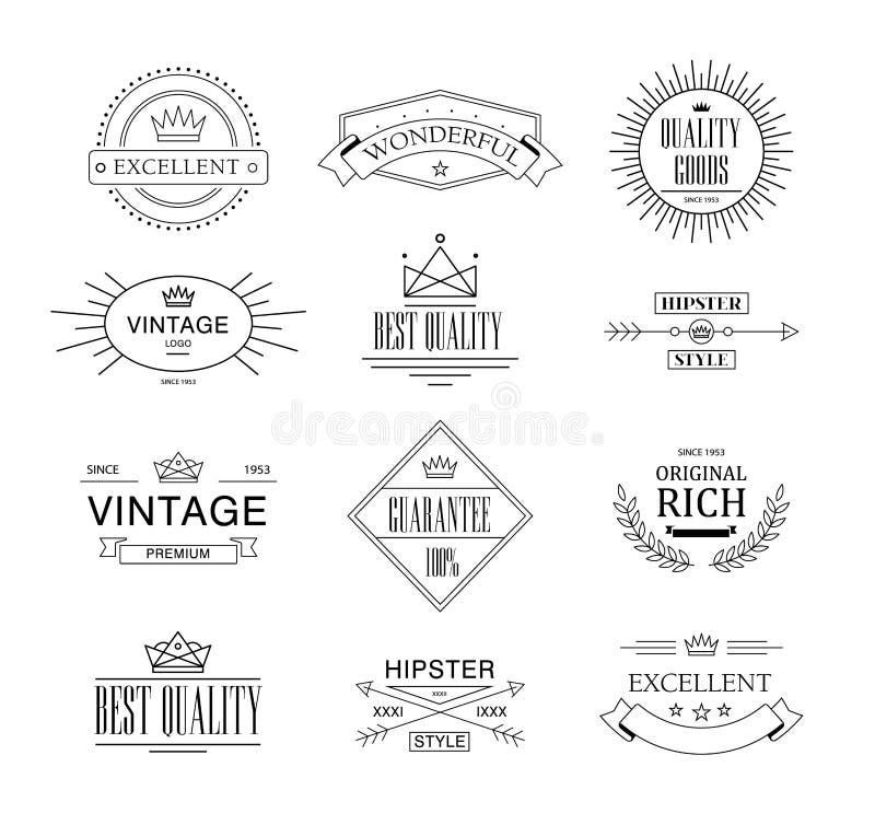 Insígnias retros ou Logotypes do vintage ajustadas Vector elementos do projeto, sinais do negócio, logotipos, identidade, etiquet ilustração stock