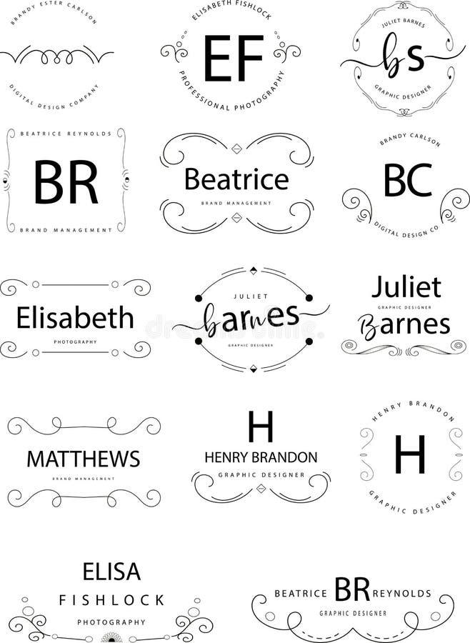 Insígnias retros ou Logotypes do vintage ajustadas Vector elementos do projeto, sinais do negócio, logotipos, identidade, etiquet ilustração do vetor