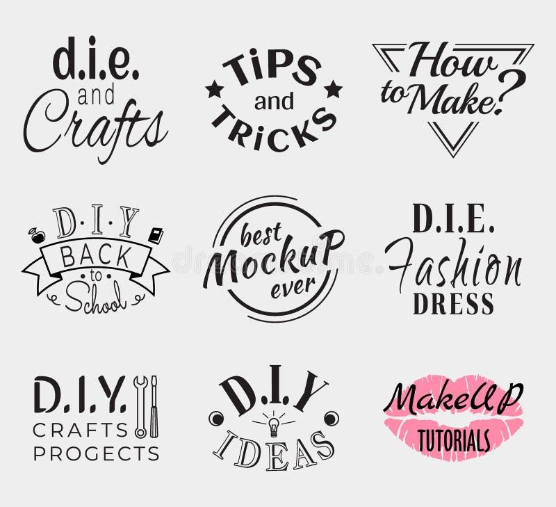 Insígnias retros ou Logotypes do vintage ajustadas Vector elementos do projeto, sinais do negócio, logotipos, identidade, etiquet ilustração royalty free