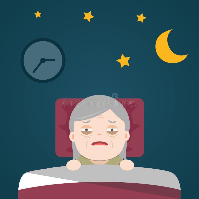 Insônia superior, sleeplessness foto de stock
