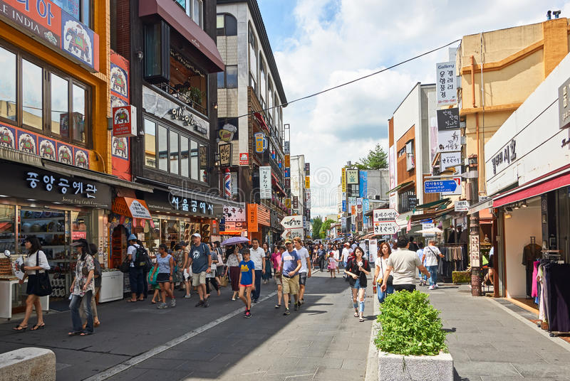 Insadong street in Seoul, South Korea royalty free stock image