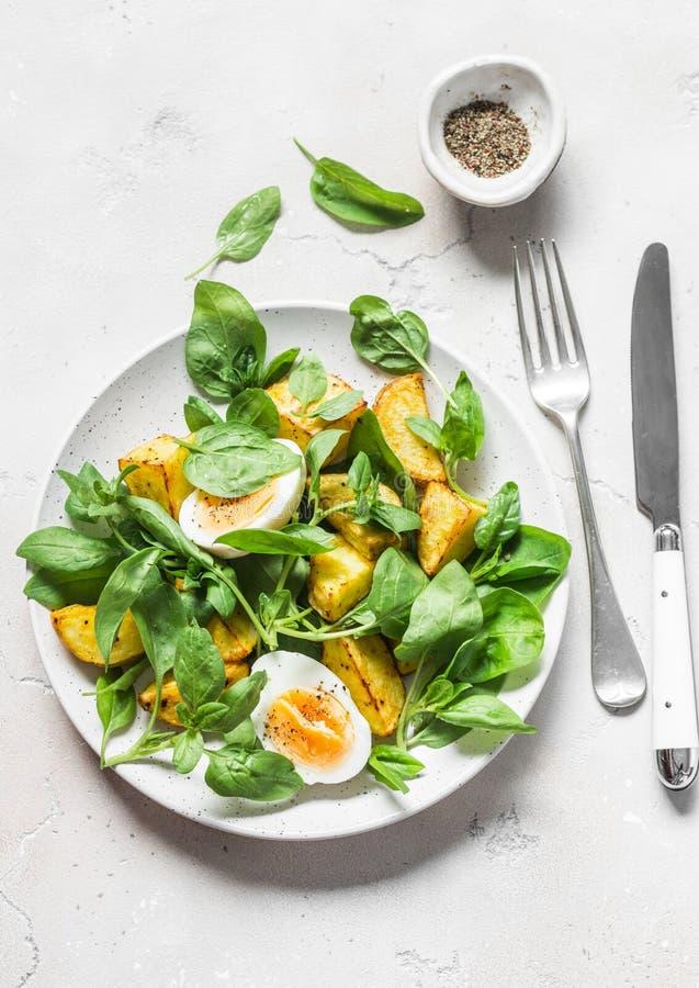Insalata al forno della patata, dell'uovo sodo e degli spinaci su fondo leggero, vista superiore fotografie stock