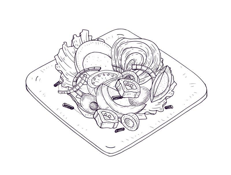 Insalata appetitosa con le verdure ed il pesce sul piatto disegnato a mano con le linee di contorno su fondo bianco Pasto sano illustrazione vettoriale