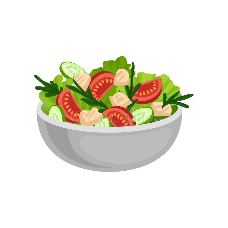 Insalata appetitosa in grande ciotola ceramica Cibo saporito e sano Pasto delizioso per la cena Progettazione piana di vettore illustrazione vettoriale