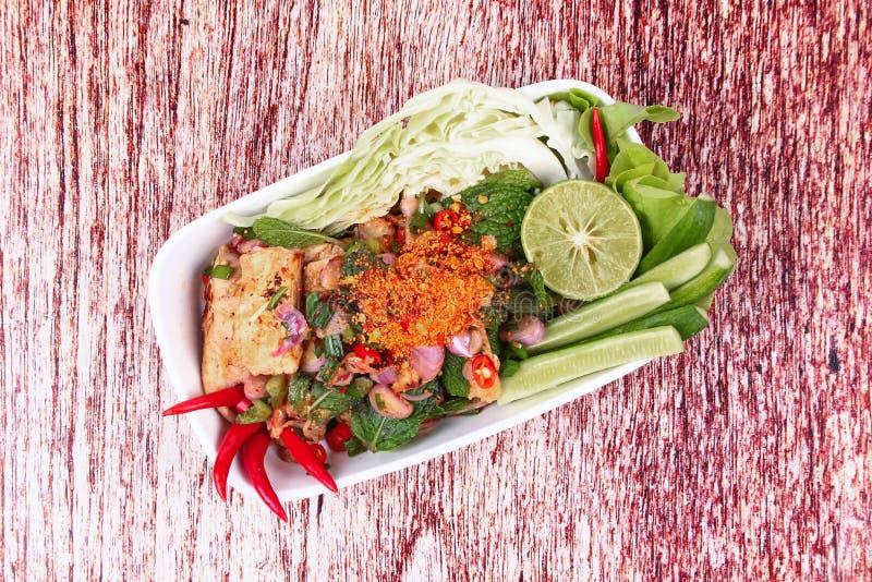Insalata arrostita affettata del manzo, Laab Tok numerico in tailandese fotografia stock libera da diritti