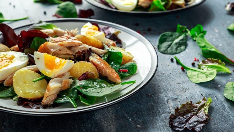 Insalata calda dello sgombro affumicato con la patata novella, uova, preparato verde della lattuga in un piatto fotografia stock libera da diritti
