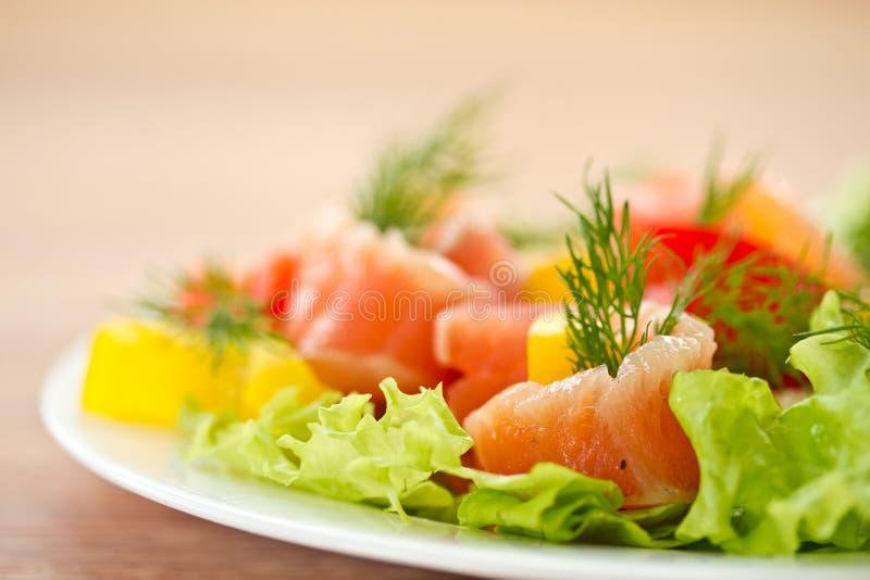 Insalata con i salmoni salati immagine stock