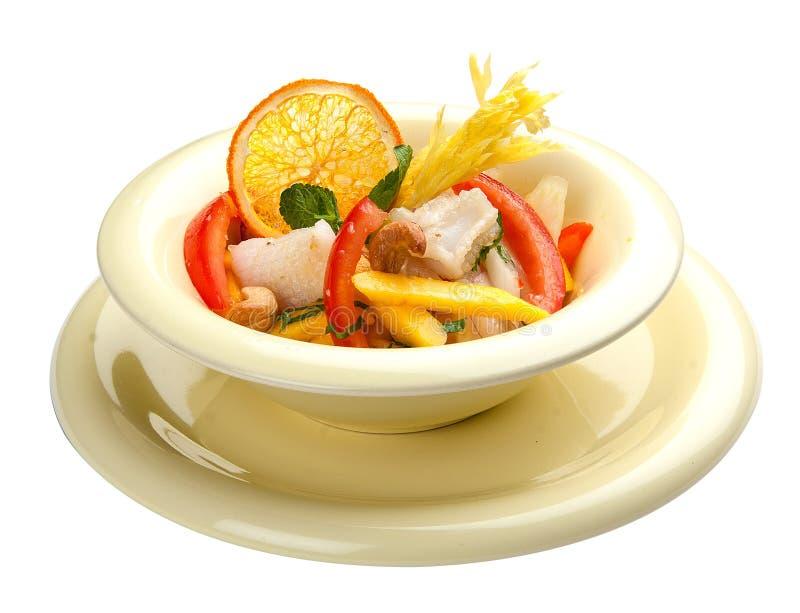 Insalata con il calamaro ed il mango Cucina asiatica immagine stock libera da diritti
