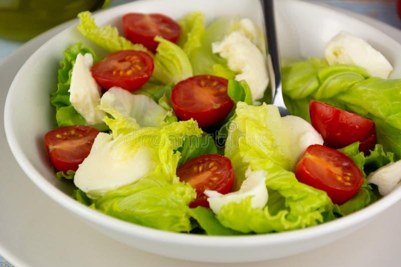 Insalata con il formaggio del pomodoro e la lattuga, alimento dietetico fotografia stock libera da diritti